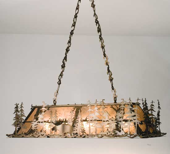 Moose Through The Trees Oblong Chandelier