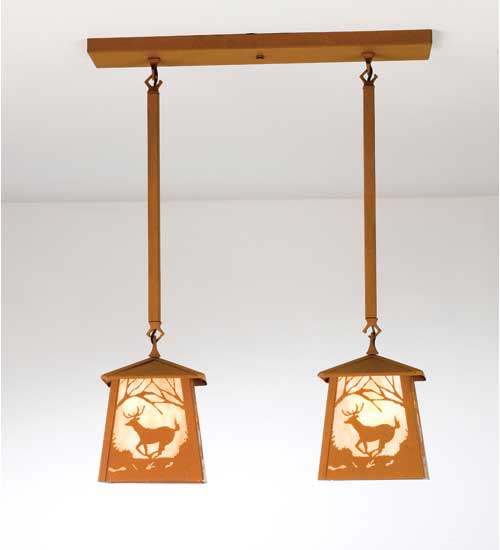 Double Deer Pendant Light