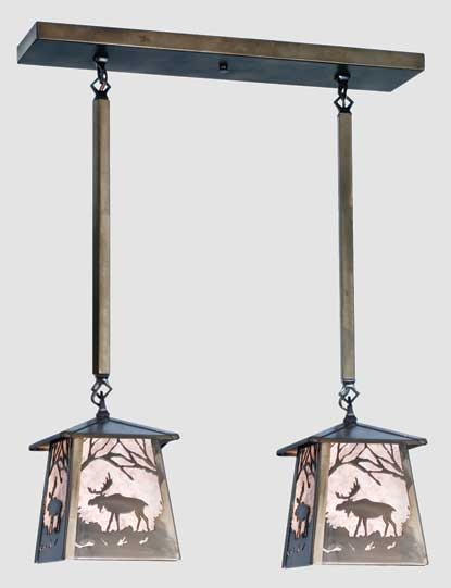 Double Moose Pendant Light