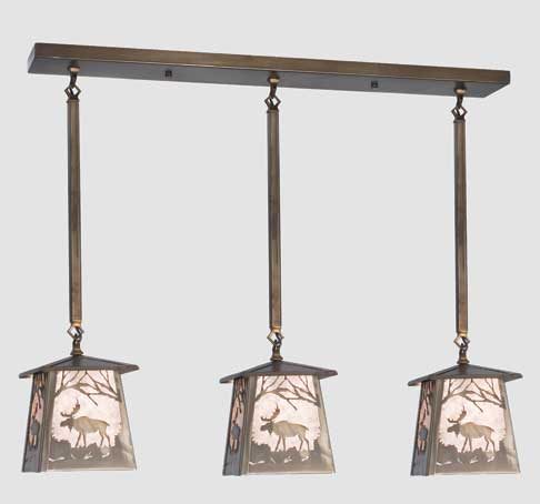 Triple Moose Pendant Light