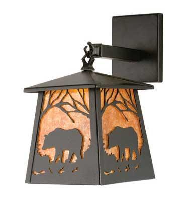 Black Bear Hanging Lantern Outdoor Light Fixture