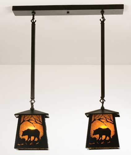 Double Black Bear Pendant Light