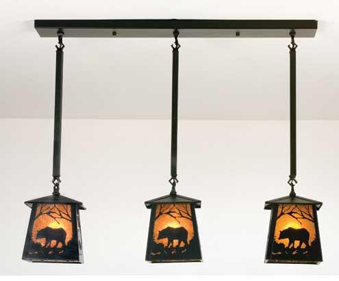 Triple Black Bear Pendant Light
