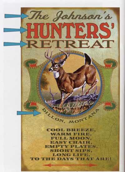 Custom Hunters' Retreat Sign