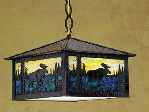 Moose At Stormy Sunset Outdoor Pendant Light