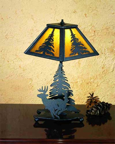 Deer And Pine Accent Lamp