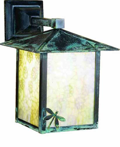 Lotus Leaf And Dragonfly Outdoor Wall Sconce