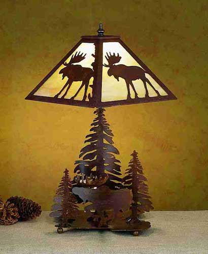Moose And Pine Forest Table Lamp
