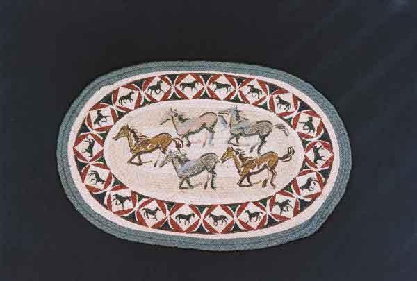 Hand Printed Wild Horses Rug