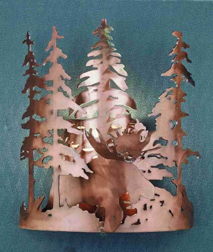 Moose Through The Trees Wall Sconce