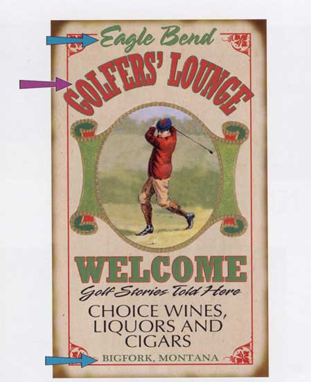 Custom Golfers' Lounge Sign