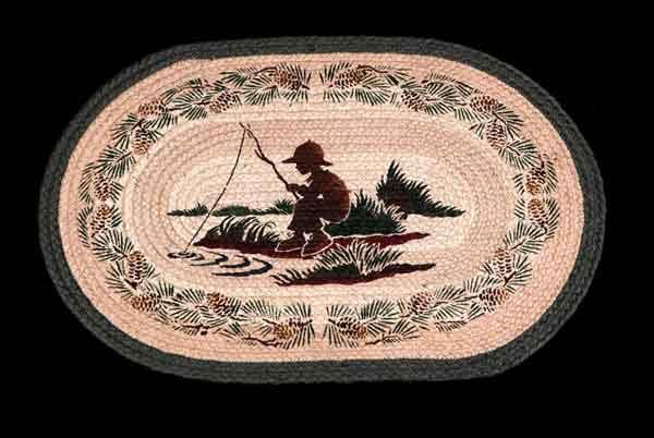 Hand Printed Fishing Boy Rug