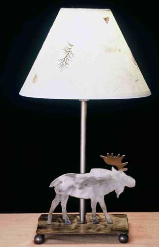 Moose With Pressed Flower Shade Accent Lamp