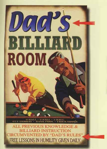 Custom Dad's Billiard Sign