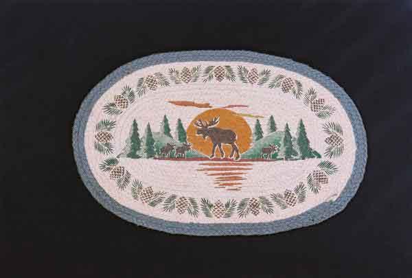 Hand Printed Moose Silhouette Rug