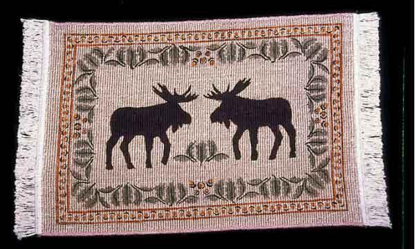 Wicker Weave Moose & Pinecone Rug