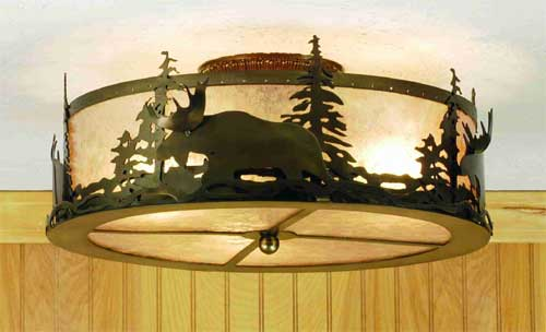 Moose At Dusk Flushmount Ceiling Fixture