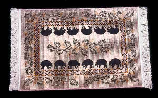 Wicker Weave Black Bear Rug