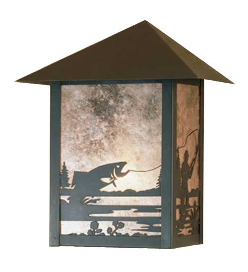 Fly Fisherman Outdoor Wall Sconce