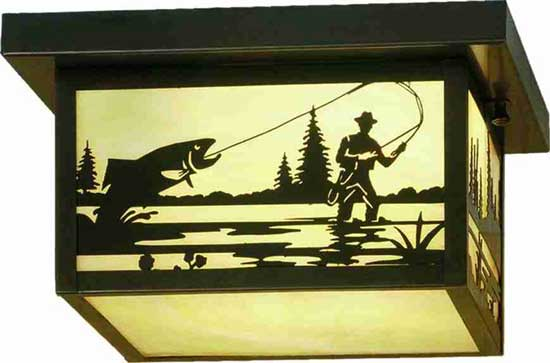 Fly Fisherman Flushmount Outdoor Ceiling Fixture