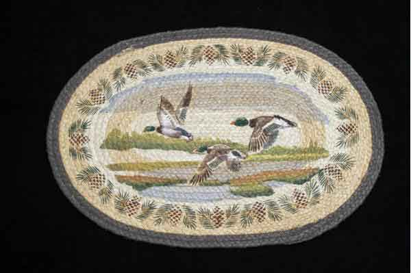Hand Printed Flying Mallard Rug