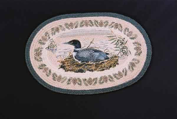 Hand Printed Loon Nesting Rug