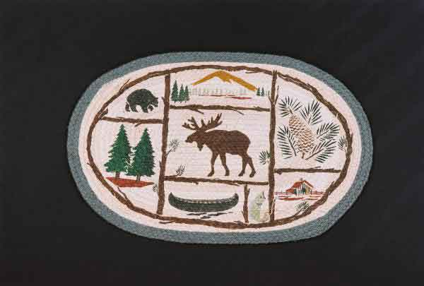 Hand Printed Moose/Canoe Rug