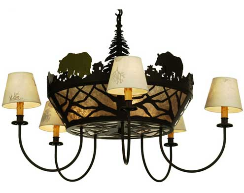 Black Bear Five Arm Chandelier