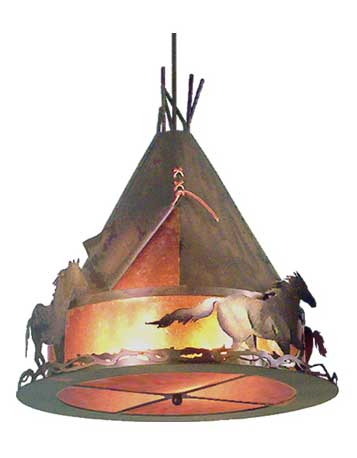 Teepee With Running Horses Chandelier