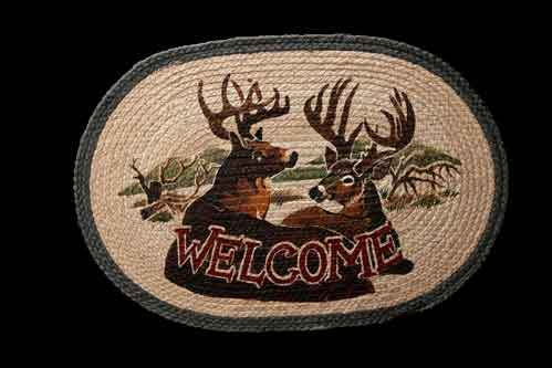 Hand Printed Deer Welcome Rug