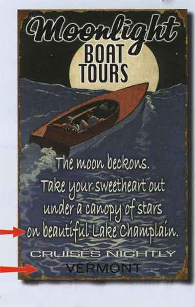 Custom Moonlight Boat Tours Sign