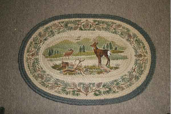 Hand Printed White Tail Deer Rug