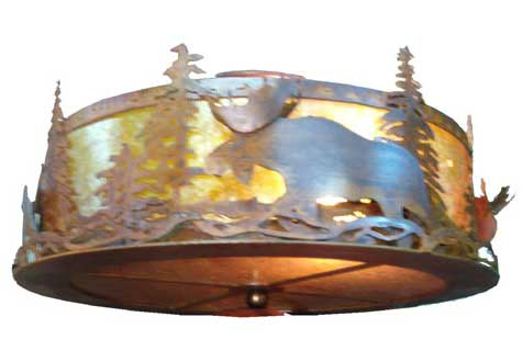 Moose At Dusk Flushmount Ceiling Fixture