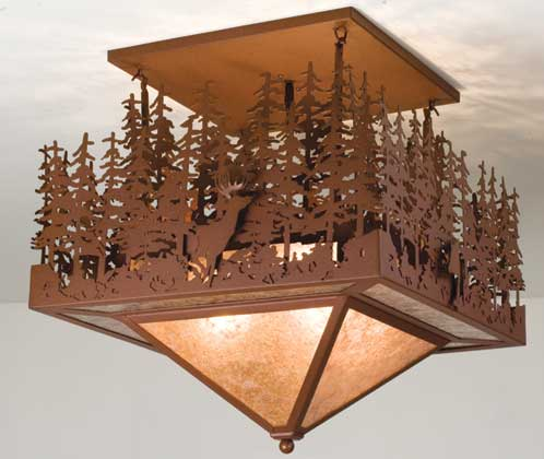 Pine Lake Deer & Bear Light Fixture