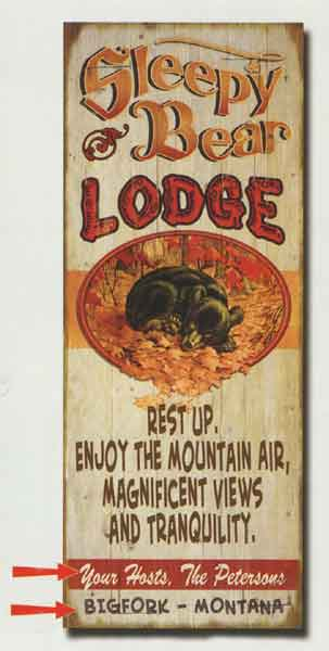 Custom Sleepy Bear Lodge Sign