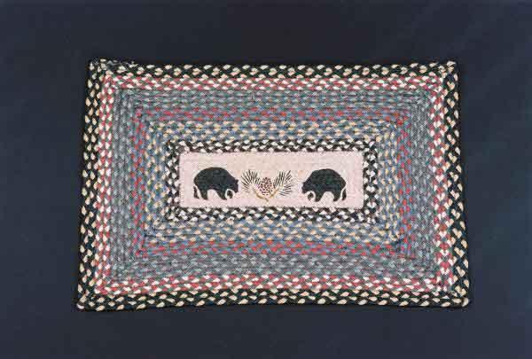 Hand Printed Black Bear Rug