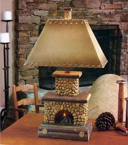 Stone Fire Place Lamp