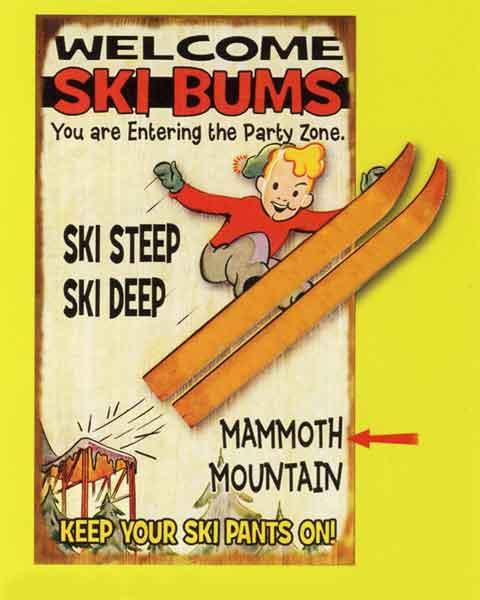 Custom 2-Dimensional Ski Bums Sign