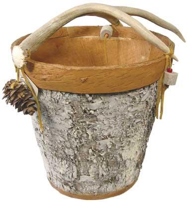 Birch Bark Basket with Antler Handle