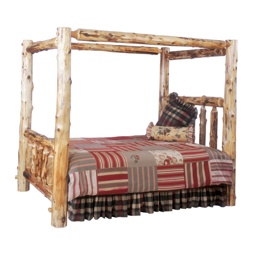 Cedar Log Canopy Bed