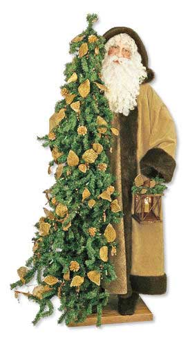 Father Christmas Statue - Golden Elegance