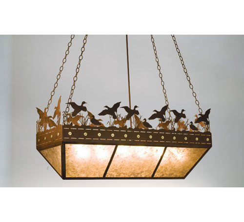 Ducks in Flight Oblong Inverted Pendant Light