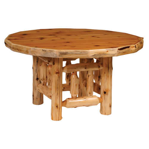 Cedar Round Log Dining Table Counter Height