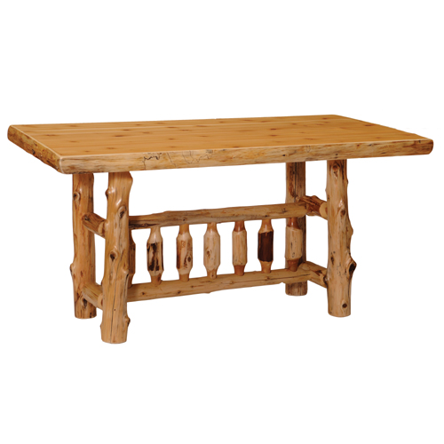 Cedar Rectanglular Log Dining Table Counter Height