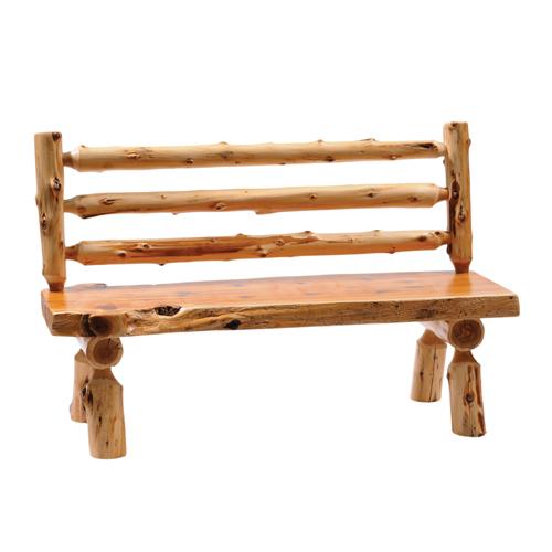 Cedar Log Bench with Back