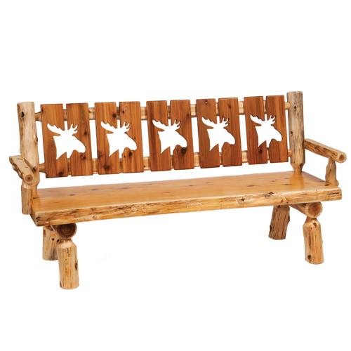 "Cedar 72"" Cutout Log Bench"