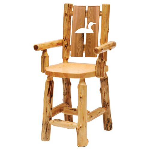 Cedar Cutout Log Arm Chair Bar Height