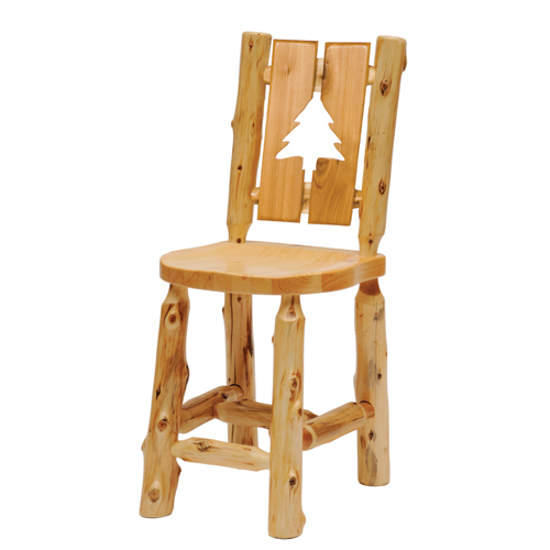Cedar Cutout Log Barstool