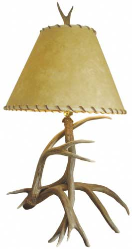 Antler Lamp with Parchment Shade