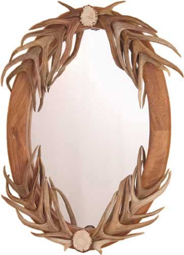 Oval Antler Mirror